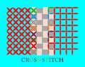 Cross stitch canvas with colored crosses and squares Royalty Free Stock Photos