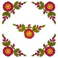The cross-stitch of the corner element is red flowers on a white background. Vector