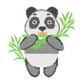 Cross stitch embroidery with cartoon panda and bamboo.