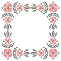 Cross stitch embroidery in ukrainian style floral frame for traditional ethnic red and black vector illustration Stock Photo