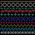 Cross stitch ethnic pattern seamless vector ornament on black background native american style Royalty Free Stock Photos