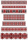 Cross stitch vector black and red ethnic borders set of pattern Stock Photo