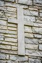 Cross on Stone Brick Wall