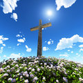 Cross surrounded by flowers Royalty Free Stock Photography