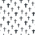 Cross symbols seamless pattern grunge hand drawn Christian crosses, religious signs icons, crucifix symbol vector illustration Royalty Free Stock Photo