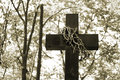 Cross and thorns on cemetery Royalty Free Stock Photography