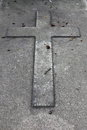 Cross in a tombstone Royalty Free Stock Photo