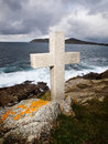 Cross tribute to sailors lost at ocean sea this is located in ferrol galicia spain Stock Photo
