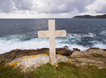 Cross tribute to sailors lost at sea this is located in ferrol galicia spain Stock Image