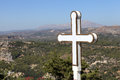 Cross on valley background Royalty Free Stock Photo