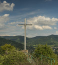 Cross in valley of river Labe Royalty Free Stock Photo