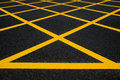 Cross yellow lines Stock Image