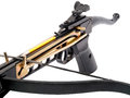 Crossbow detail of black isolated on white studio shot Royalty Free Stock Image