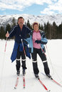 Crosscountry skiing with seniors Royalty Free Stock Photo