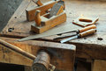 Crosscut hand saw planer and other tools of a carpente carpenter for woodworking Stock Image