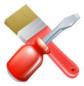 Crossed brush and screwdriver tools icon of cartoon construction or diy or service concept Royalty Free Stock Image