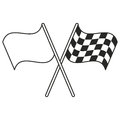 crossed flag start racing thin line Royalty Free Stock Photo