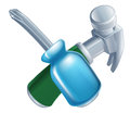 Crossed hammer and screwdriver tools icon of cartoon construction or diy or service concept Stock Images