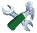 Crossed hammer and spanner tools icon of cartoon construction or diy or service concept Royalty Free Stock Photo