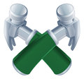 Crossed hammers icon of cartoon tools construction or diy or service concept Stock Photo