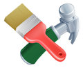 Crossed paintbrush and hammer tools icon of cartoon construction or diy or service concept Stock Photos