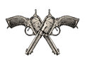 Crossed pistols. Vintage vector gun, pistol, handgun. Retro revolver Royalty Free Stock Photo