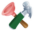 Crossed plunger and hammer tools icon of cartoon construction or diy or service concept Stock Photography