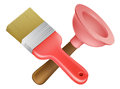 Crossed plunger and paintbrush tools icon of cartoon construction or diy or service concept Royalty Free Stock Photography
