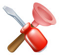 Crossed plunger and screwdriver tools icon of cartoon construction or diy or service concept Royalty Free Stock Image