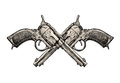 Crossed revolvers vintage guns hand drawn gun firearms illustration Stock Photos