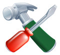 Crossed screwdriver and hammer tools icon of cartoon construction or diy or service concept Royalty Free Stock Photo