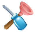 Crossed screwdriver and plunger tools icon of cartoon construction or diy or service concept Stock Photos