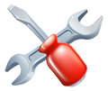 Crossed screwdriver and spanner tools icon of cartoon construction or diy or service concept Royalty Free Stock Photos