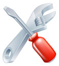 Crossed spanner and screwdriver icon of cartoon tools construction or diy or service concept Stock Images