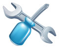 Crossed spanner and screwdriver tools icon of cartoon construction or diy or service concept Royalty Free Stock Image