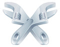 Crossed spanners tool icon of cartoon tools construction or diy or service concept Stock Image