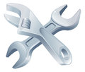 Crossed spanners tools icon of cartoon construction or diy or service concept Stock Images