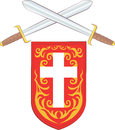 Crossed Swords with Red Cross Shield Royalty Free Stock Photo