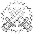 Crossed swords sketch Royalty Free Stock Photo