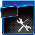 Crossed wrench and screwdriver on halftone banner Stock Photography