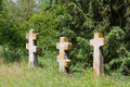 Crosses On Cemetery In Forest