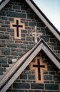 Crosses on a church in country australia Stock Photos