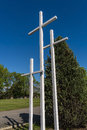Crosses in front of a cimetary Royalty Free Stock Images