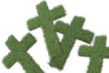 Crosses made from grass in d software Stock Image