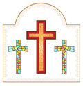 Crosses made from stained glasses in d software Royalty Free Stock Image