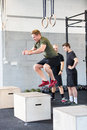 Crossfit box jump traning Royalty Free Stock Photo
