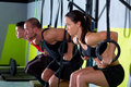 Crossfit dip ring group workout dipping in a row Stock Image