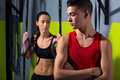 Crossfit dip ring man and woman relaxed after workout Royalty Free Stock Photography
