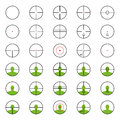 Crosshairs set with red sights each crosshair in seperated laye a layers Royalty Free Stock Image