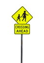 Crossing ahead yellow sign over white Stock Photos